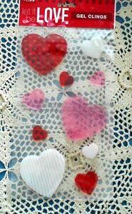 Valentine Heart Red Pink White Fancy Designs Gel Window Clings
