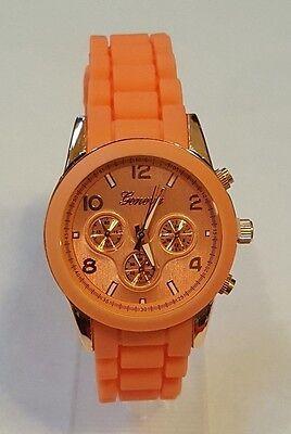 Geneva Watch MK Style Chronograph Look Peach Silicone Band Rose Gold (Geneva Chronograph Style Silicone)