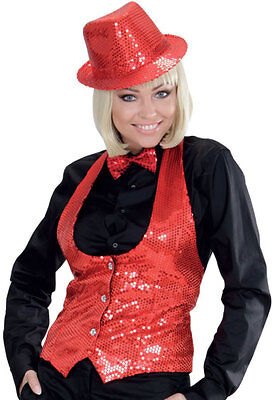 Pailletten-weste Damen (Pailletten-Weste rot für Damen NEU - Damen Karneval Fasching Verkleidung Kostüm)