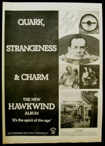 HAWKWIND 1977 POSTER ADVERT QUARK STRANGENESS AND CHARM