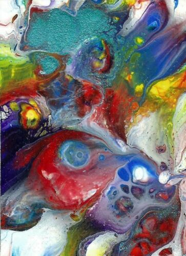 """Original ACEO Abstract Acrylic Pour on Paper """"Underwater Fish"""" by JUDITH BOSCH"""