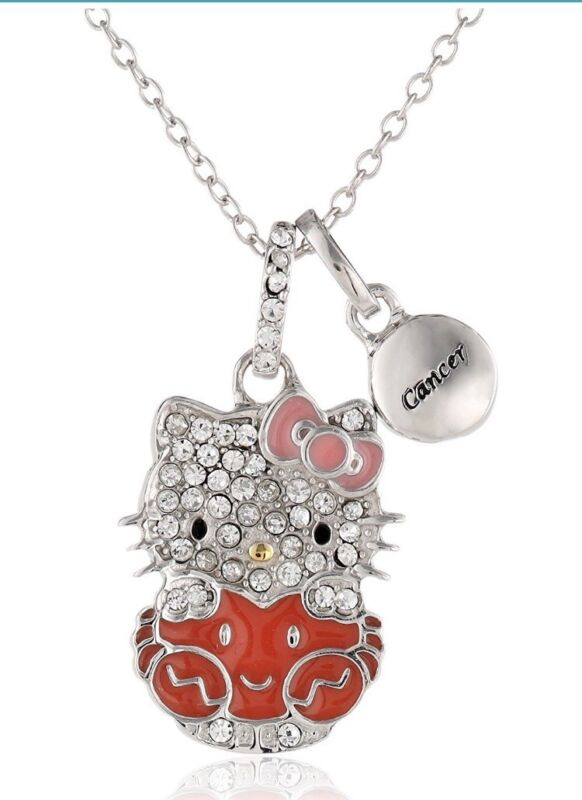 "HELLO KITTY ZODIAC CANCER Sterling 925 Pave Crystal Enamel Pendant Necklace 18""L"