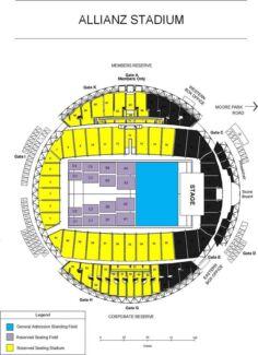 Sia tickets X 3 Allianz Stadium Reserved Gold Seats, Bay 12 & 13