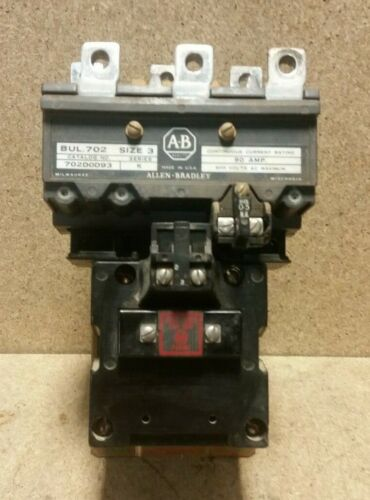 AB Size 3 Contactor Motor Starter 702D0D93  *Good Contacts - See Pics*  S2