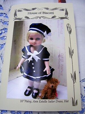 "10"" Tonner Patsy, Ann Estelle Sailor Dress Pattern, Slip, Panties, Hat"