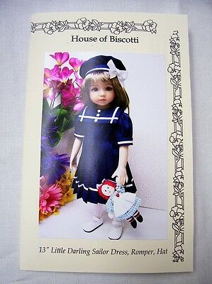 "Effner 13"" Little Darling PATTERN Sailor Dress, Romper, Hat,  Dolls Doll"
