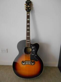 Epiphone EJ 300 SCE guitar (with case, tuner, pics & music books) Altona Hobsons Bay Area Preview