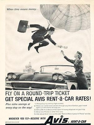 1958 Avis Rental Ford Fairlane   Vintage Advertisement Car Print Ad J467