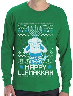 - Funny Jewish Hanukkah Happy LlamaKkah Ugly Christmas Long Sleeve T-Shirt Gift