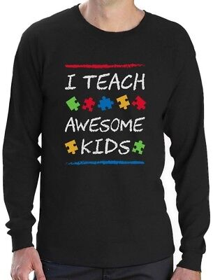 Awesome Long Sleeve T-shirt - I Teach Awesome Kids Autism Awareness Long Sleeve T-Shirt Support The Cause