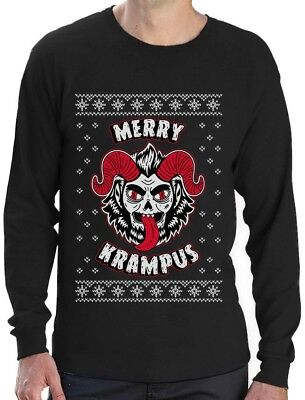 Ugly Sweater Krampus German Christmas Scary Demon Long Sleeve T-Shirt European - Scary Demon