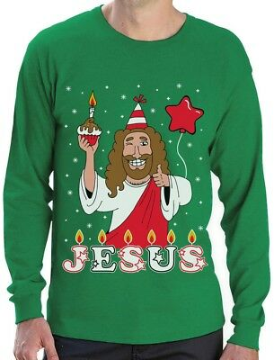 Ugly Christmas Sweater Go Jesus it's Your Birthday Long Sleeve T-Shirt Gift Idea ()
