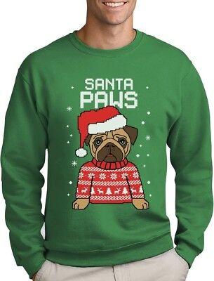 Christmas Dogs Sweatshirt - Santa Paws Pug Ugly Christmas Sweater Dog Sweatshirt Gift