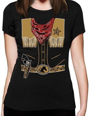 Cowboy Halloween Easy Costume Outfit Women T-Shirt Gift