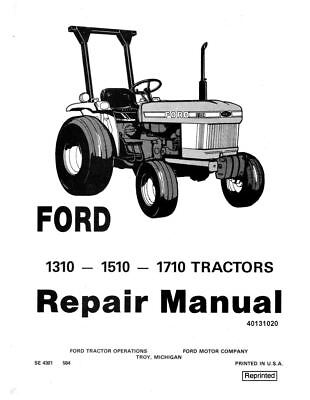 Ford 1310 1510 1710 Tractor Service Manual Se-4301 Print Version