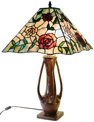 New Warehouse of Tiffany Style Floral Table Lamp with Square Shade 1916 +BB469 (Warehouse Fashion Square)