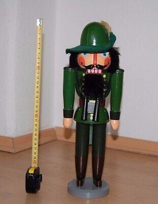 DDR Erzgebirgische Nussknacker Förster  Holz Figur 35 cm Handarbeit