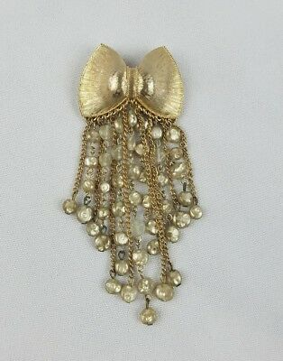 Vintage bow brooch pin chain beads charms fringe