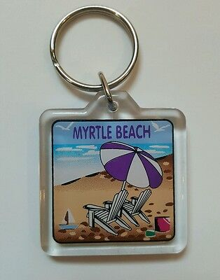 Myrtle Beach South Carolina Keychain 2 Sided Umbrella Chairs From the 90
