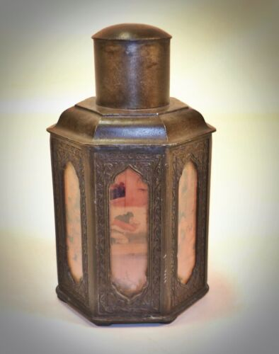 Rare Antique Chinese Shantou Pewter Reverse Glass 7 Sided Tea Caddy Bottle