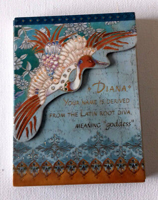 Magnetic FLIP TOP NOTE BOOK  TURQUOISE/GOLD/TAN  Name DIANA Meaning GODDESS ()