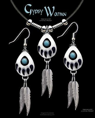 GYPSY WOMAN NECKLACE & EARRINGS SET-TURQUOISE BEAR TRACK EAGLE FEATHER SALE  L*