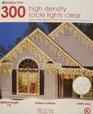 NEW Holiday Time 300 High Density Icicle Lights Clear- Holiday Christmas Decor