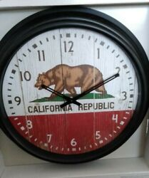 California Republic Large-Indoor/Outdoor Wall Clock - Great Style,Laid Back,Cool