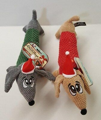 Holiday Dachshund Plush Popcorn Squeaking Dog Toys In 2 Color Choices ~ 14