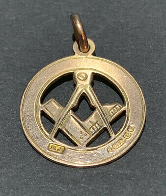 BEAUTIFUL CONDITION ENGLISH ANTIQUE 1921 SOLID 9CT GOLD MASONIC FOB MEDAL