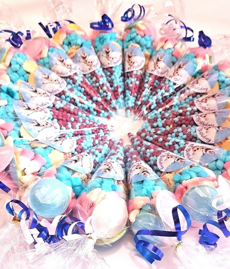 Personalised Pre Filled Sweet Cones Kids Party Bags Birthday Wedding Christmas
