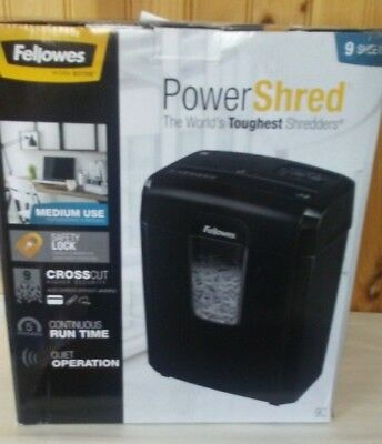 Fellowes Work Better Powershred 9c Cross-cut Office Paper Shredder Nib 9 Sheets