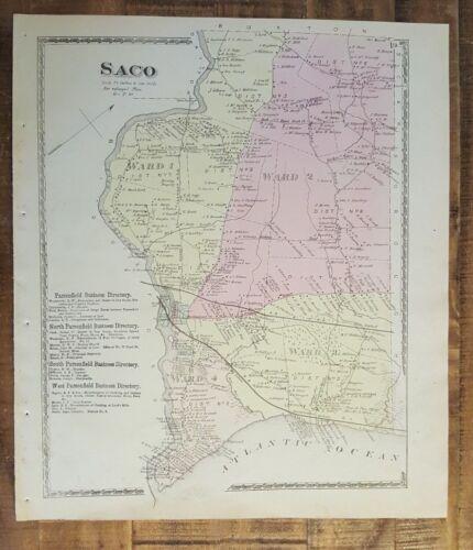 Antique Colored MAP - SACO, MAINE - / Atlas York County, ME - 1872