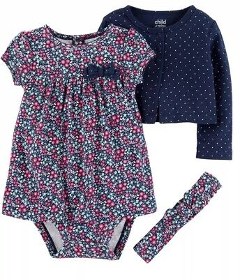 NWT BABY GIRL 3pc OUTFIT SIZE 6-9 MONTHS DRESS CARDIGAN HEADBAND