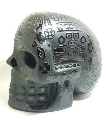 """HUGE 5.5"""" BLACK OBSIDIAN AZTEC CARVED SKULL CRYSTAL HEALING TEOTIHUACAN"""