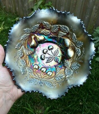"NORTHWOOD Ruffled Bowl - Three Fruits 9"" Amethyst Purple Vintage Carnival Glass"