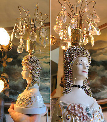 Boudoir Victorian Deco Fountain Lamp JEWELED porcelain Lady chandelier Rhinesto