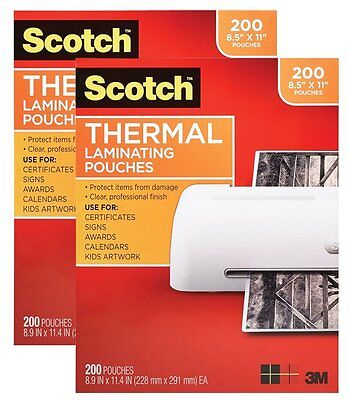 400 Scotch Thermal Laminating Pouches   Sheets   Letter   200 Pack  X 2
