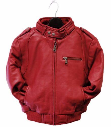 kids red leather jacket lambskin bomber genuine toddler boy girl