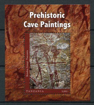 Tanzania 2017 MNH Prehistoric Cave Paintings Kondoa 1v S/S II Art Stamps