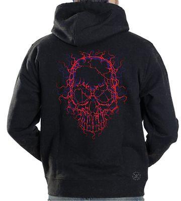 NEON CRACKED SKULL Hooded Sweat Shirt ~ Lightning Skulls Hoodie ~ - Cracked Skull
