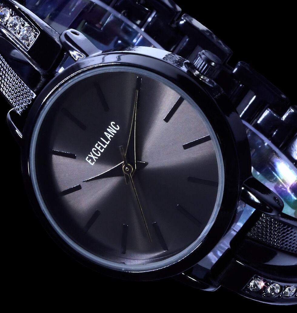 Excellanc Uhr Damenuhr Armbanduhr Schwarz Anthrazit Metall Strass B-Ware