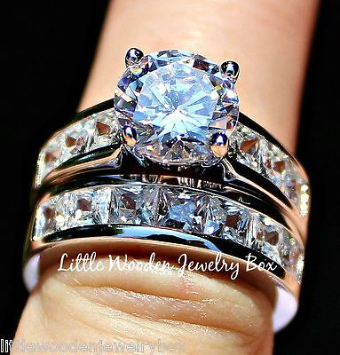 4 Carat Round cut Diamond 925 Sterling Silver Wedding Ring B