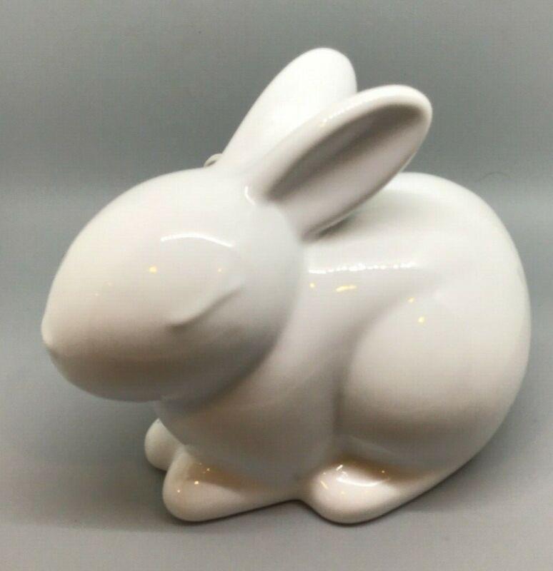White Ceramic Rabbit Bunny Nightlight Lamp Figurine Approx 7 inches
