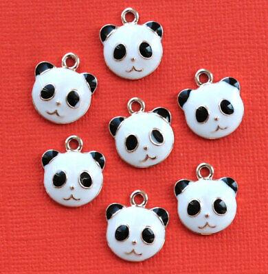 5 Panda Bear Charms Gold Plated Enamel E033