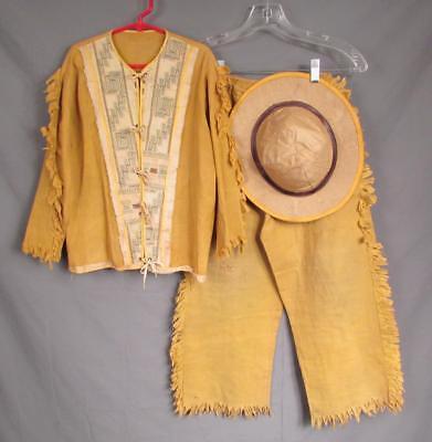 Vintage 1950s Jahre West Pioneer Jugend Kostüm Outfit Frontier Top /Hose / Hut