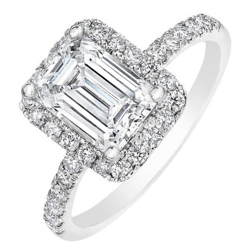 GIA Certified 4.00 Carat total Emerald cut Diamond Engagement Halo Style Ring...