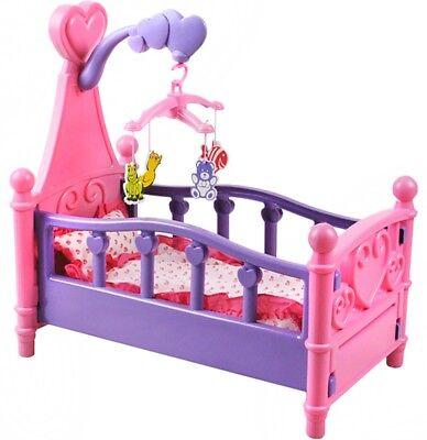 Puppenbett & Zubehör Puppenbettchen Spielzeug Rosa Geschenk #1400