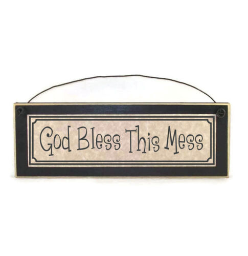 God Bless This Mess Sign   Funny Signs for Home   Funny Christian Signs