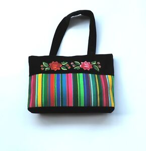 HANDBAG DECORATED WITH LOWICZ STRIPES AND EMBROIDERED ROSES Folk Art from Lowicz - <span itemprop='availableAtOrFrom'>Przecieszyn, Polska</span> - HANDBAG DECORATED WITH LOWICZ STRIPES AND EMBROIDERED ROSES Folk Art from Lowicz - Przecieszyn, Polska